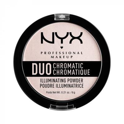 Сухой хайлайтер NYX Professional Makeup DUO CHROMATIC ILLUMINATING POWDER - SNOW ROSE: фото