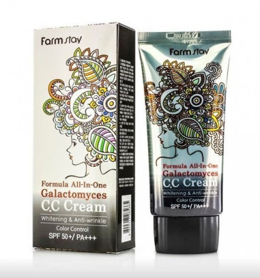 CC-крем с ферментом галактомисис FARMSTAY Formula all-in-one galactomyces CC-cream SPF50 50 г: фото