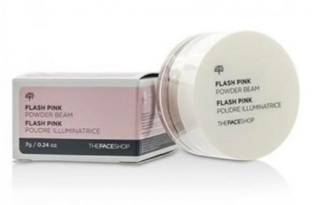 Пудра рассыпчатая сияющая THE FACE SHOP Flash Pink Powder Beam: фото