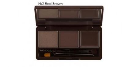Тени для бровей MISSHA 3-Step Brow Kit Red Brown: фото