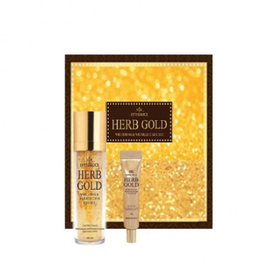 Набор уходовый антивозрастной DEOPROCE ESTHEROCE HERB GOLD WHITENING & WRINKLE CARE ESSENCE & EYE CREAM SPECIAL SET 135мл/ 40гр: фото