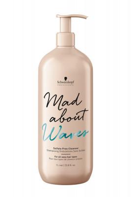 Крем бессульфатный очищающий для тонких, нормальных и жестких волос Schwarzkopf Professional Mad About Waves Sulfate Free Cleanser 1000мл: фото