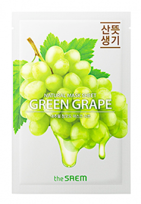 Маска тканевая с экстрактом винограда THE SAEM Natural Green Grape Mask Sheet 21мл: фото