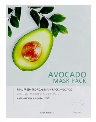 Маска тканевая с экстрактом авокадо JUNGNANI REAL FRESH TROPICAL MASK AVOCADO 25мл: фото