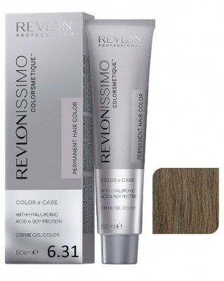 Краска перманентная Revlon Professional Revlonissimo Colorsmetique 6.31 Темный Блондин холотисто- Пепельный 60мл: фото