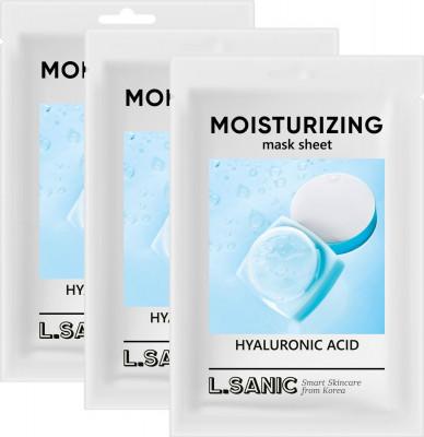 Увлажняющая тканевая маска с гиалуроновой кислотой L.SANIC HYALURONIC ACID MOISTURIZING MASK SHEET 25мл*3шт: фото