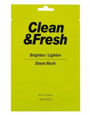 Тканевая маска для здорового цвета лица EUNYUL Clean&Fresh Brighten/Lighten Sheet Mask 22мл: фото