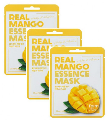 Тканевая маска для лица с экстрактом манго FarmStay Real Mango Essence Mask 23мл*3: фото