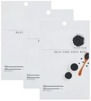 Набор Тканевых масок с экстрактом черных бобов EUNYUL BLACK BEAN DAILY CARE SHEET MASK 22г*3 шт: фото