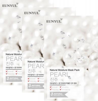 Набор тканевых масок с экстрактом жемчуга EUNYUL NATURAL MOISTURE MASK PACK PEARL 22мл*3шт: фото