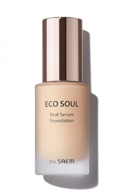 Тональный крем-сыворотка The Saem Eco Soul Real Serum Foundation SPF50+ PA++++ 21 Light Beige 35 мл: фото