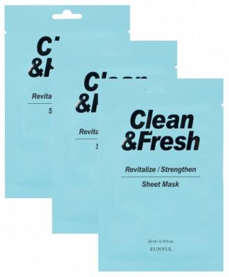 Набор тканевая маска для возрождения и восстановления здоровья кожи EUNYUL CLEAN & FRESH REVITALIZE-STRENGTHEN SHEET MASK 22мл*3: фото