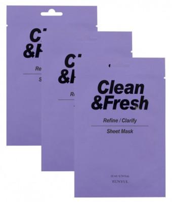 Набор тканевых масок для выравнивания тона и рельефа лица EUNYUL CLEAN & FRESH REFINE-CLARIFY SHEET MASK 22мл*3: фото
