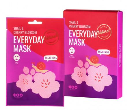 Набор масок для лица для сияния кожи DEARBOO Snail&Cherry Blossom 27мл*10шт: фото