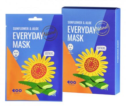 Набор масок для лица успокаивающих DEARBOO Sunflower&Aloe 27мл*10шт: фото