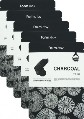 Набор тканевых масок для лица с углем FARMSTAY CHARCOAL VISIBLE DIFFERENCE MASK SHEET 23мл*5шт: фото