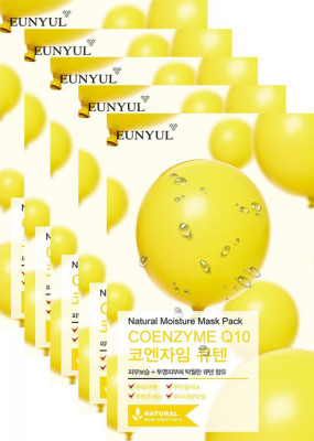 Набор тканевых масок с коэнзимом Q10 Eunyul Natural Moisture Mask Pack Coenzym 22мл*5шт: фото