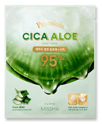 Успокаивающая тканевая маска с центеллой и алоэ MISSHA Premium Cica Aloe Sheet Mask 21г: фото