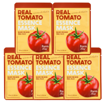 Набор тканевых масок для лица с экстрактом томата FARMSTAY REAL TOMATO ESSENCE MASK 23мл*5шт: фото