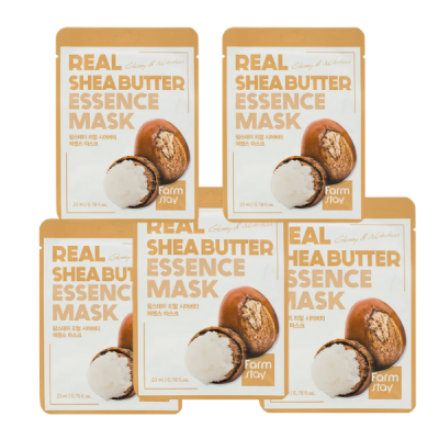 Набор тканевых масок для лица с маслом ши FARMSTAY REAL SHEA BUTTER ESSENCE MASK 23мл*5шт: фото