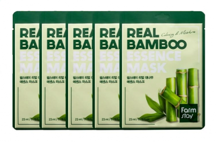 Набор тканевых масок для лица с экстрактом бамбука FARMSTAY REAL BAMBOO ESSENCE MASK 23мл*5шт: фото